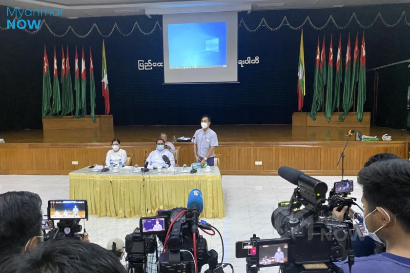 The USDP holds a press conference at its office on Thanlwin road in Yangon on November 11